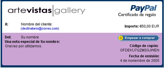 Artevistas Gallery - Certificados de regalo